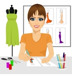 Designer drawing dress design sketches vector