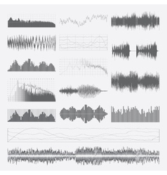 Music sound waves set isolated on a white vector