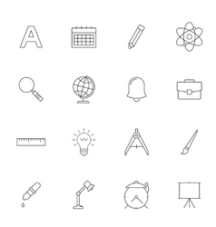 School education outline icons vector
