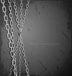 Chain stainless steel on grunge background vector