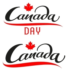 Canada day set lettering text for greeting card vector
