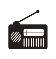 Flat icon in black and white style radio vector