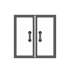 Two glass doors icon outline style vector