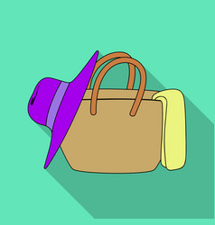 beach bag with hatsummer rest single icon in flat vector image