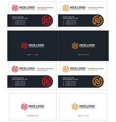 Business card with the letter n sleek cards vector