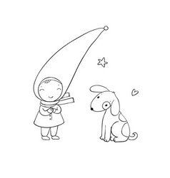 Cute little gnome and the dog vector
