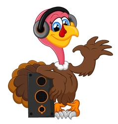 Cute turkey cartoon listen music vector