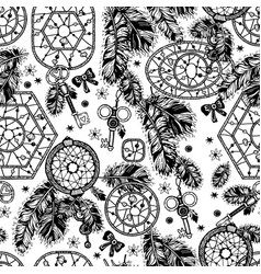 Dream catcher boho style seamless pattern vector