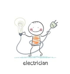 Electrician holding a light bulb vector