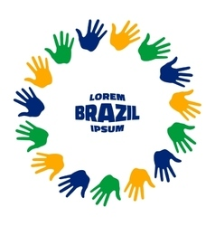 Fifteen hand print logo using brazil flag colors vector