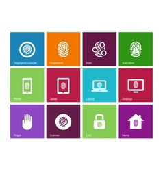 Fingerprint icons on color background vector