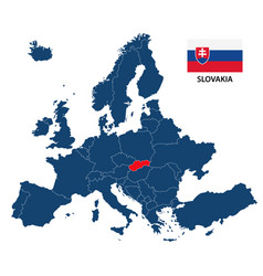 map of europe with highlighted slovakia vector image