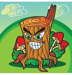 Mushrooms with funny tree stump vector