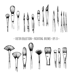 Set of hand-drawn brushes for painting isolated on vector