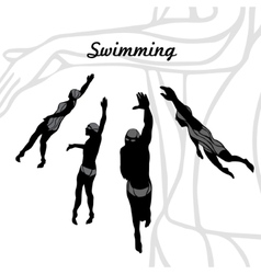Set of Silhouettes of Swimmers vector image
