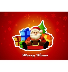 Sitting Santa with presents on red background vector image