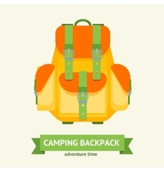 Tourist camping backpack card vector