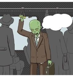 Zombie goes to work pop art vector