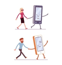 Set of man and woman walking with smartphone vector image
