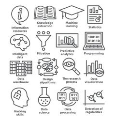 Business management icons in line style pack 17 vector
