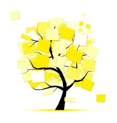 Art tree with yellow stickers for your design vector image