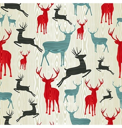 Christmas wooden reindeer pattern vector image