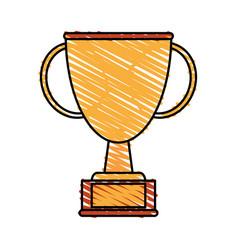 color crayon stripe cartoon golden cup trophy with vector image