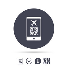 Boarding pass flight sign icon airport ticket vector