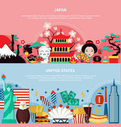 japan and united states horizontal banners vector image