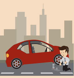 Businessman use a jack to change a tire vector