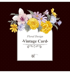 Vintage floral bouquet botanical greeting card vector