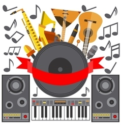 Set of musical instruments speakers music plate vector