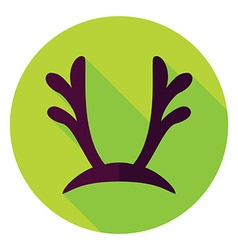 Flat design reindeer antlers circle icon vector