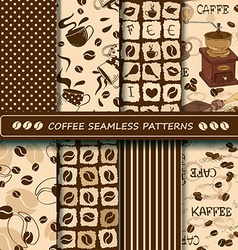 Set of coffee seamless pattern vector image
