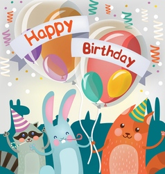 Happy birthday greeting card with cute animals vector