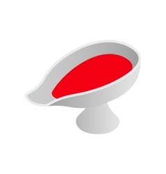 Sauce boat with red sauce isometric 3d icon vector