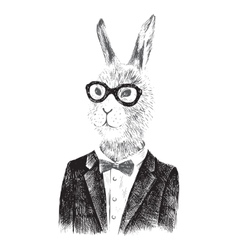 Dressed up bunny boy in hipster style vector