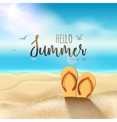 Summer beach travel design sun with sand and vector