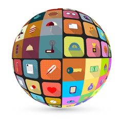 Abstract globe with flat icons vector image vector image