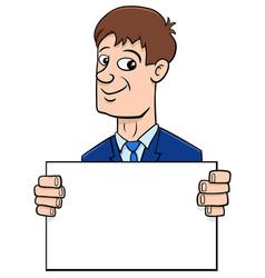 Cartoon businessman with board vector
