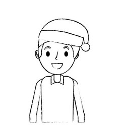 cartoon smiling man young with christmas hat vector image