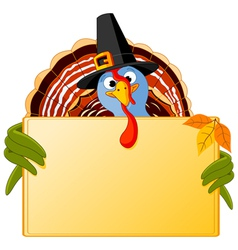Cartoon turkey banner vector