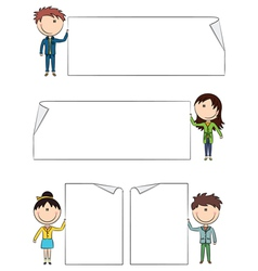Cheerful kids holding empty blank banners vector image