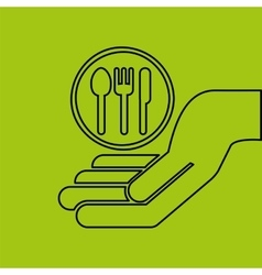Concept e-commerce hand with restaurant icon vector