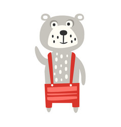 Cute gray teddy bear in red pants standing funny vector