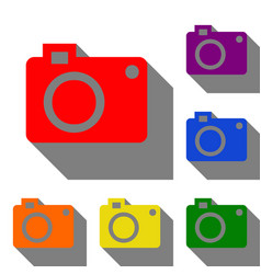 digital camera sign set of red orange yellow vector image vector image