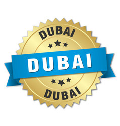 Dubai round golden badge with blue ribbon vector
