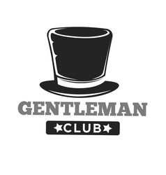 gentlemen club logo in vintage style on white vector image vector image