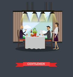 gentlemen in restaurant concept vector image