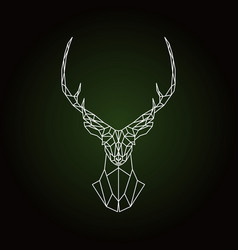 Geometric deer head on dark green background vector